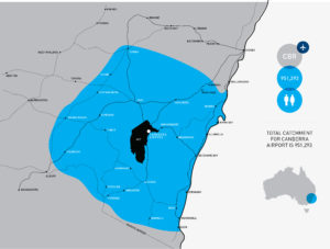 Map of Total Catchment For Canberra Airport is 951,293